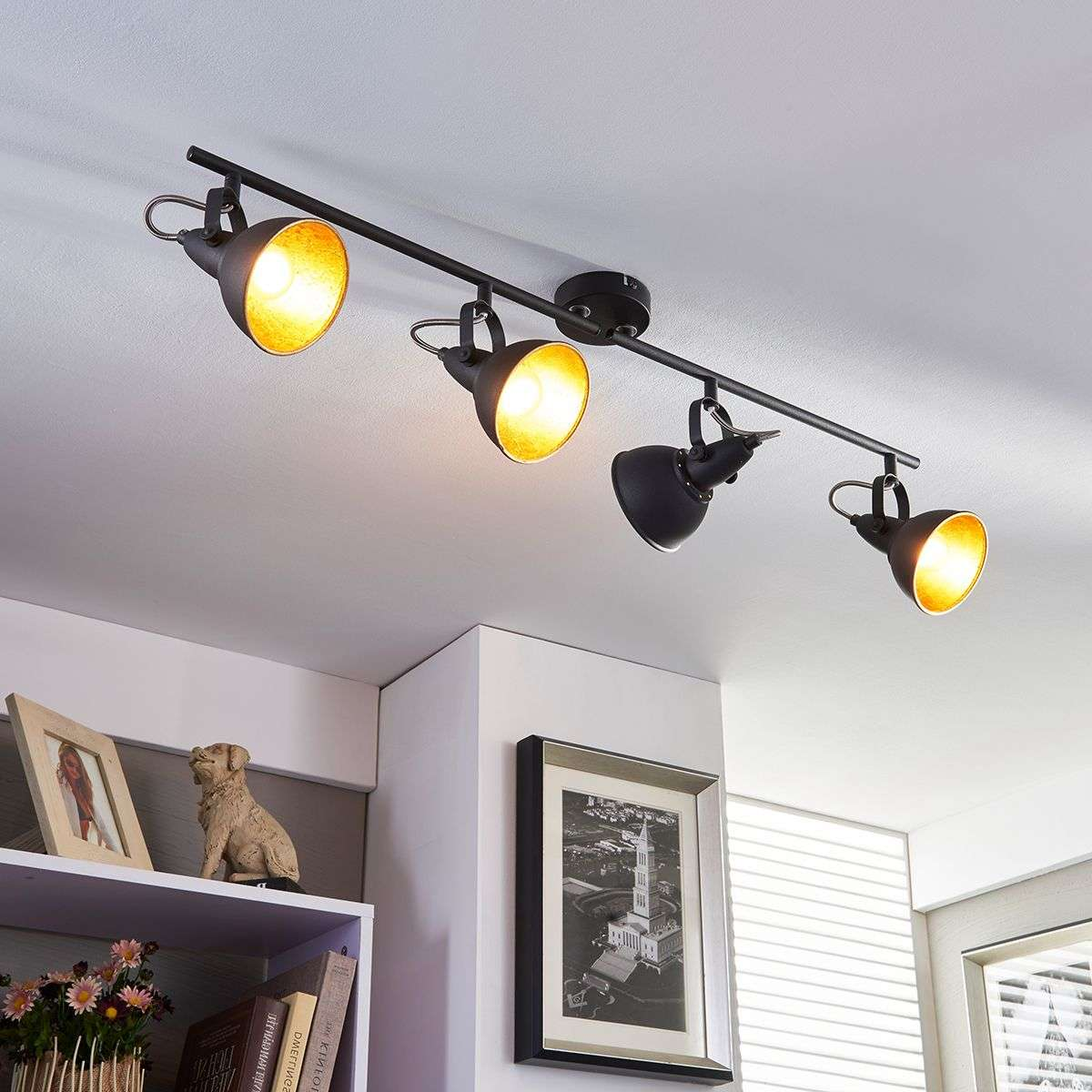 Black And Golden Kitchen Spotlight Julin, 4 Bulbs