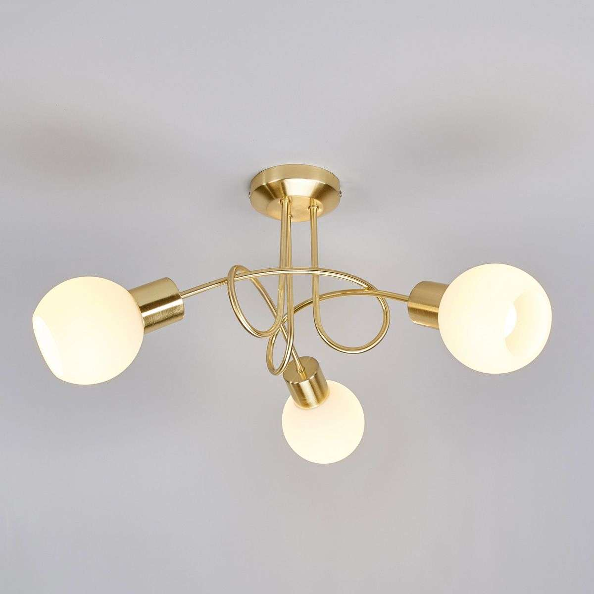 Led Ceiling Lights Brass : Brass coloured led ceiling light elaina bulb lights