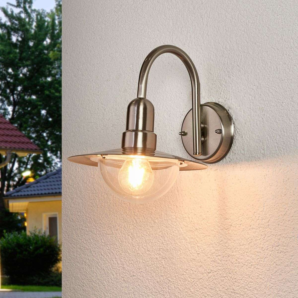 Classic LED outdoor wall light Fedra in steel-9647035-31
