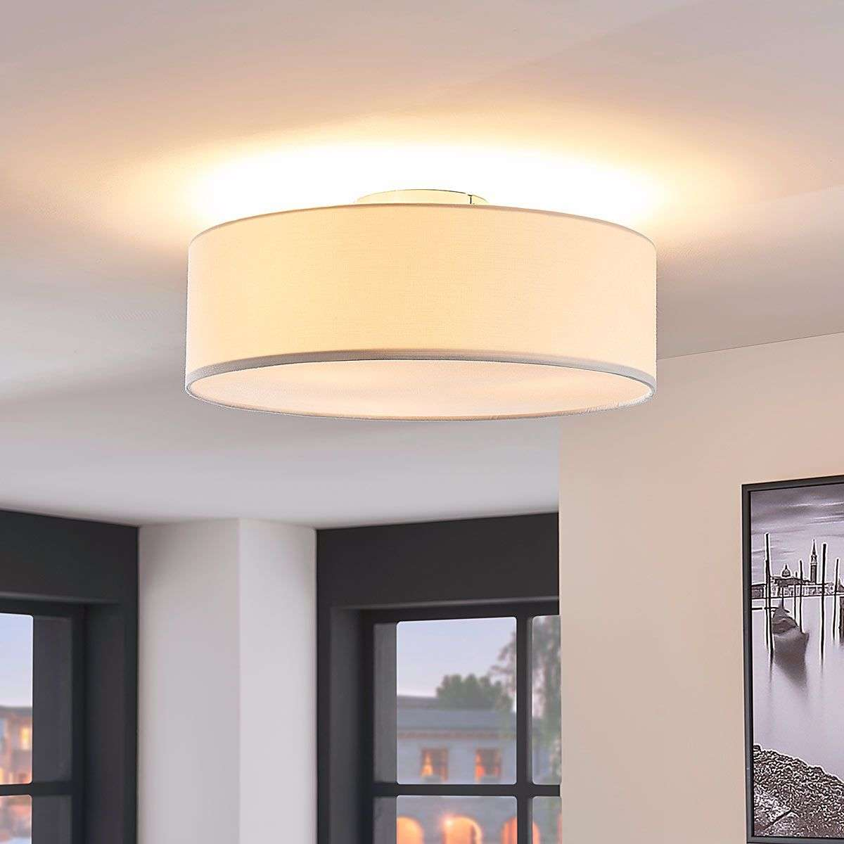 Cream coloured fabric ceiling light sebatin lights cream coloured fabric ceiling light sebatin aloadofball Image collections