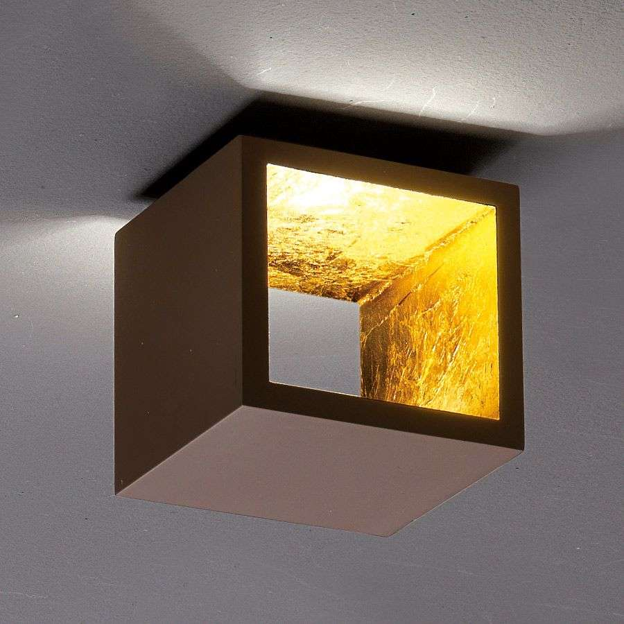 Cube Shaped Led Ceiling Light Cub 242 Brown Gold Lights Co Uk