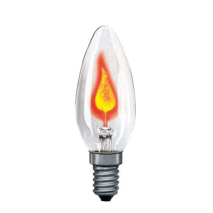 E14 3w Flicker Candle Bulb Clear