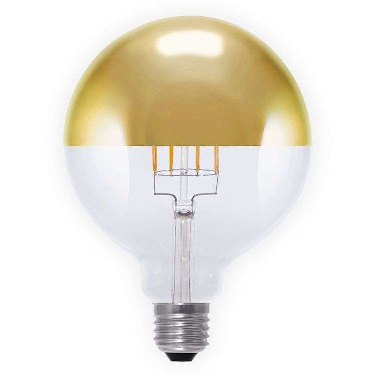 E27 8w 926 Led Globe Half Mirror Bulb G125 Gold Lights Co Uk