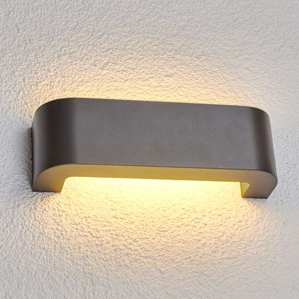 Outside Wall Lights Grey : Eberta - LED outdoor wall light in graphite grey Lights.co.uk