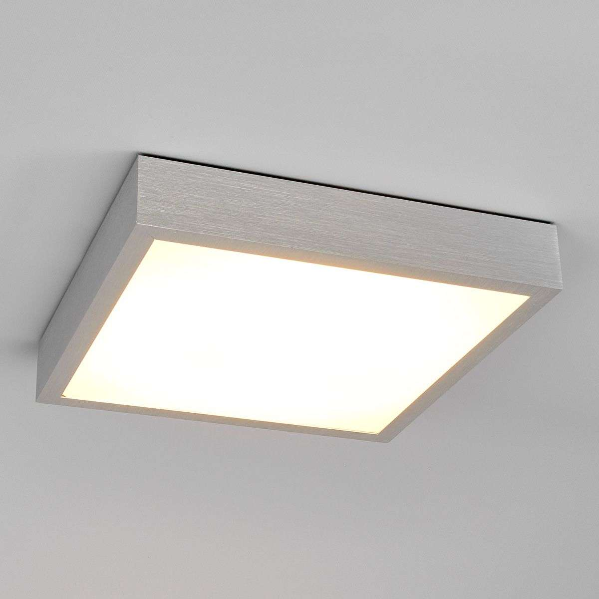 Finnian square LED ceiling light, aluminium