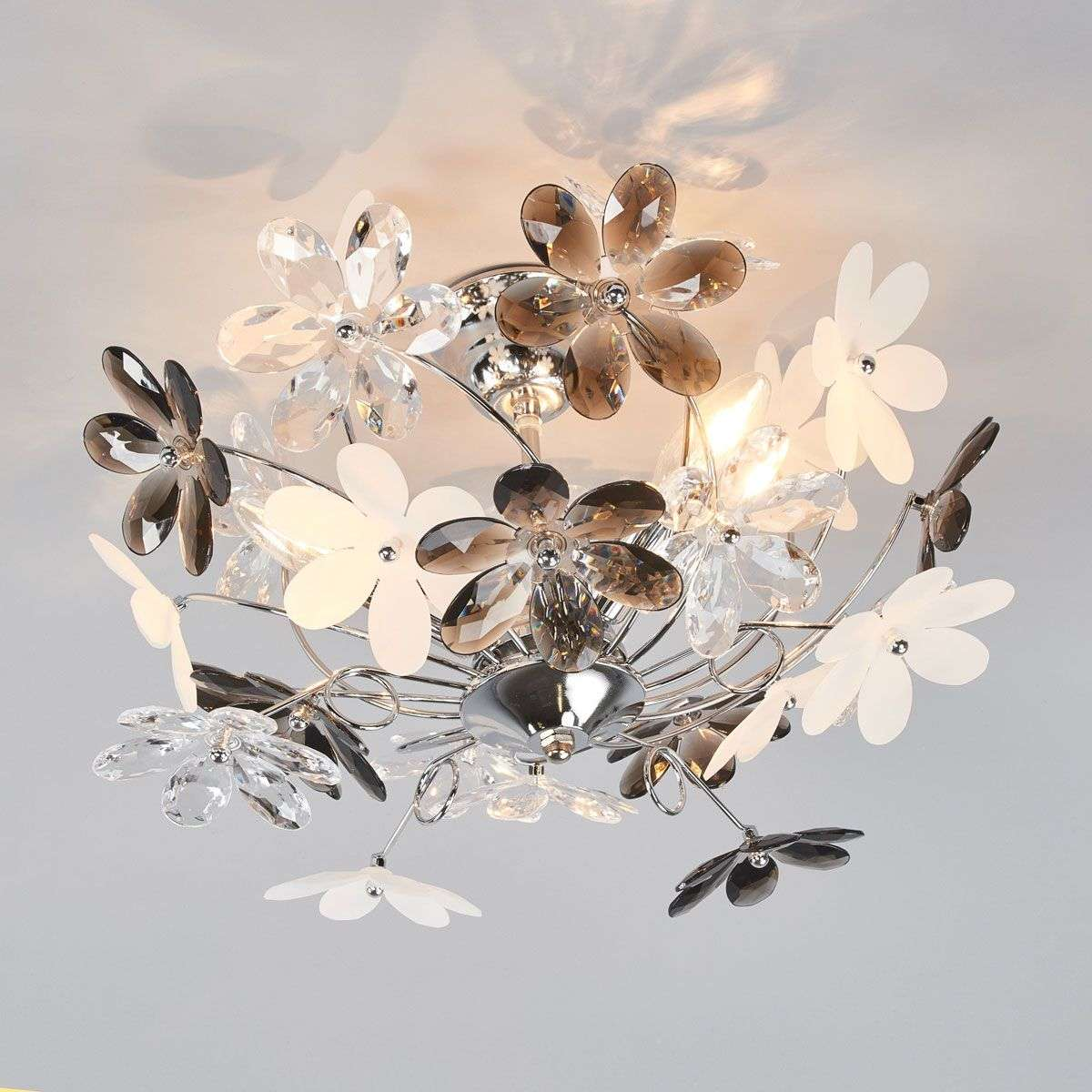 Flower Ceiling Lamp with Transparent Blossoms | Lights.co.uk