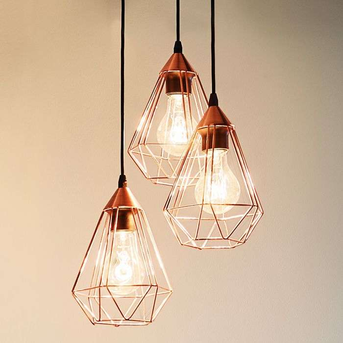 Glossy copper hanging light tarbes 3 bulb lights glossy copper hanging light tarbes 3 bulb mozeypictures Choice Image
