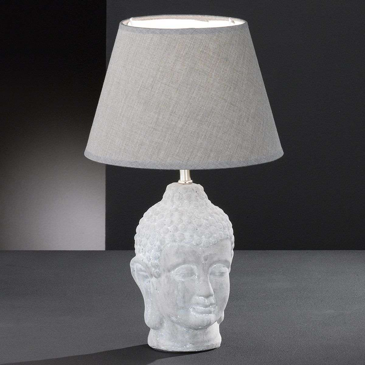 Nice Grey Buddha Table Lamp With A Fabric Lampshade 4581119 31