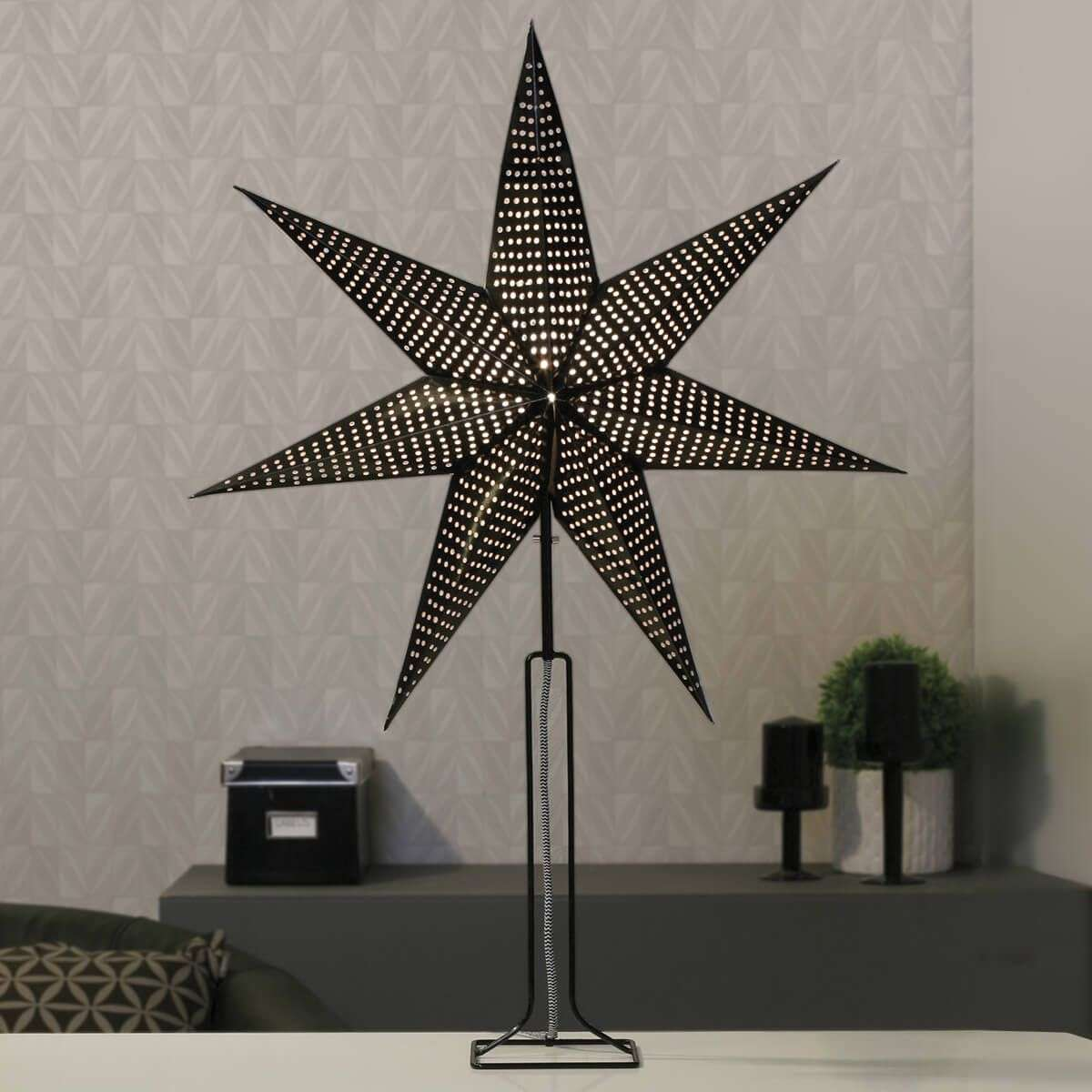 In black paper star Huss with metal base 85 cm-1523261-31