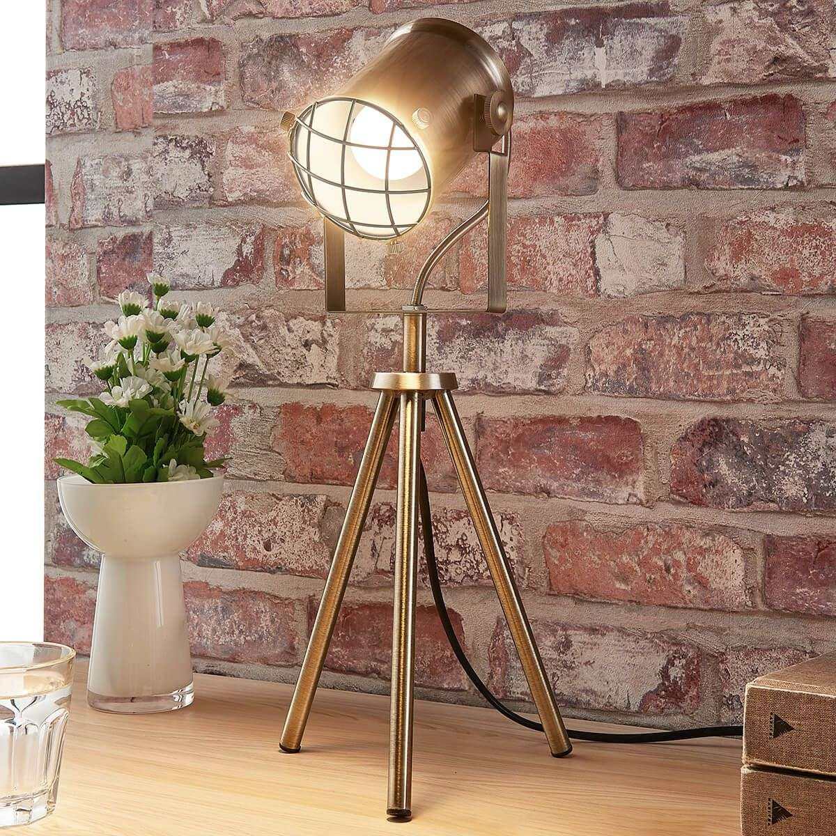 industrial looking lighting. Industrial-looking Table Lamp Ebbi, Antique Brass-9621273-32 Industrial Looking Lighting A