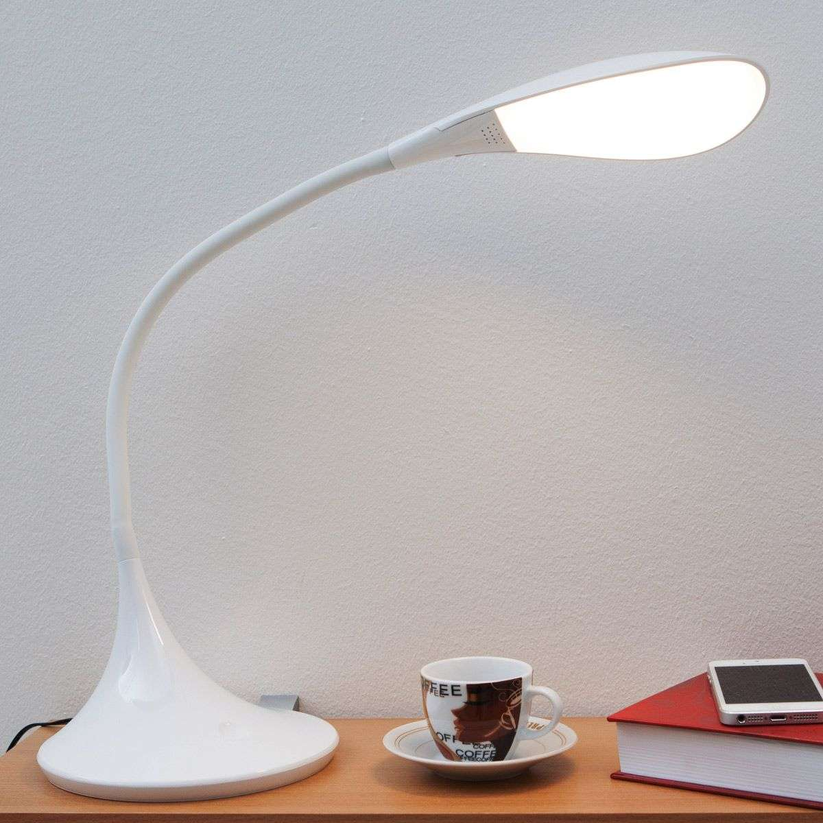 Josia, Dimmable LED Desk Lamp in White | Lights.co.uk
