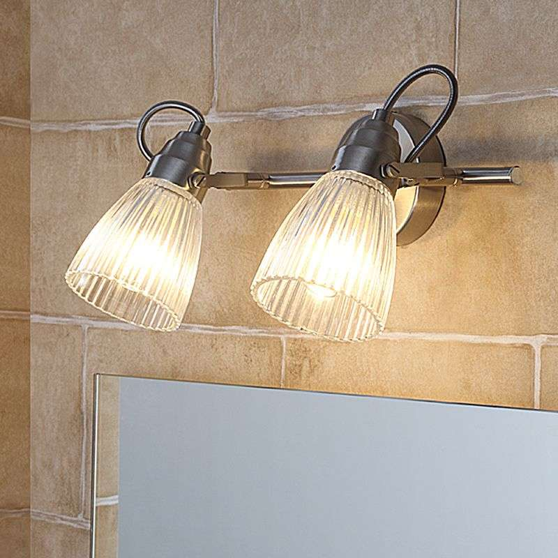 Kara bathroom wall l& with fluted glass and LED & Kara bathroom wall lamp with fluted glass and LED | Lights.co.uk