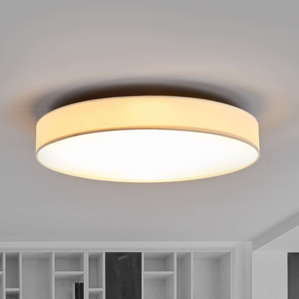 Large white fabric LED ceiling light Saira