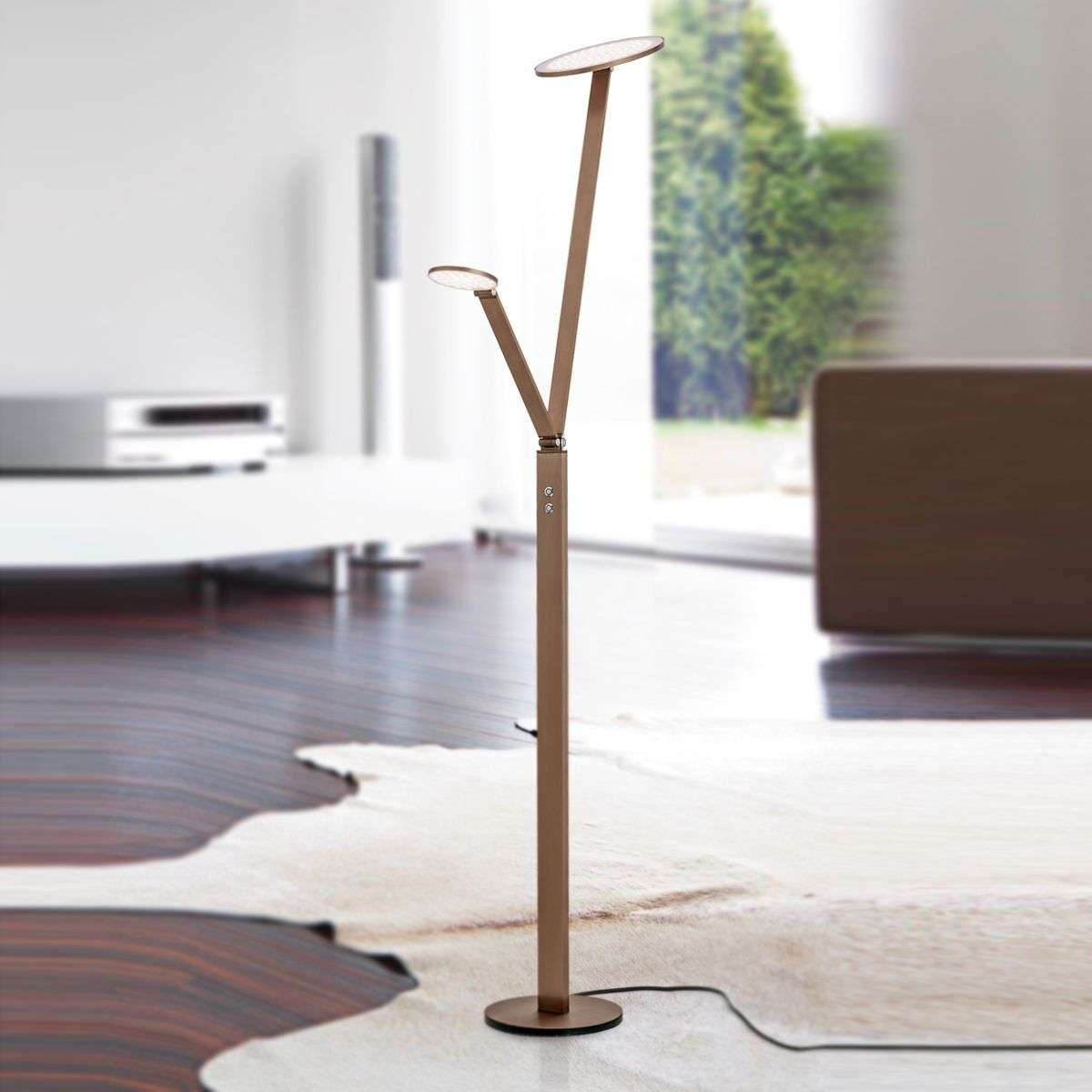 Led floor lamp ayana 2 light with 4 level dimmer for 12 volt floor lamps
