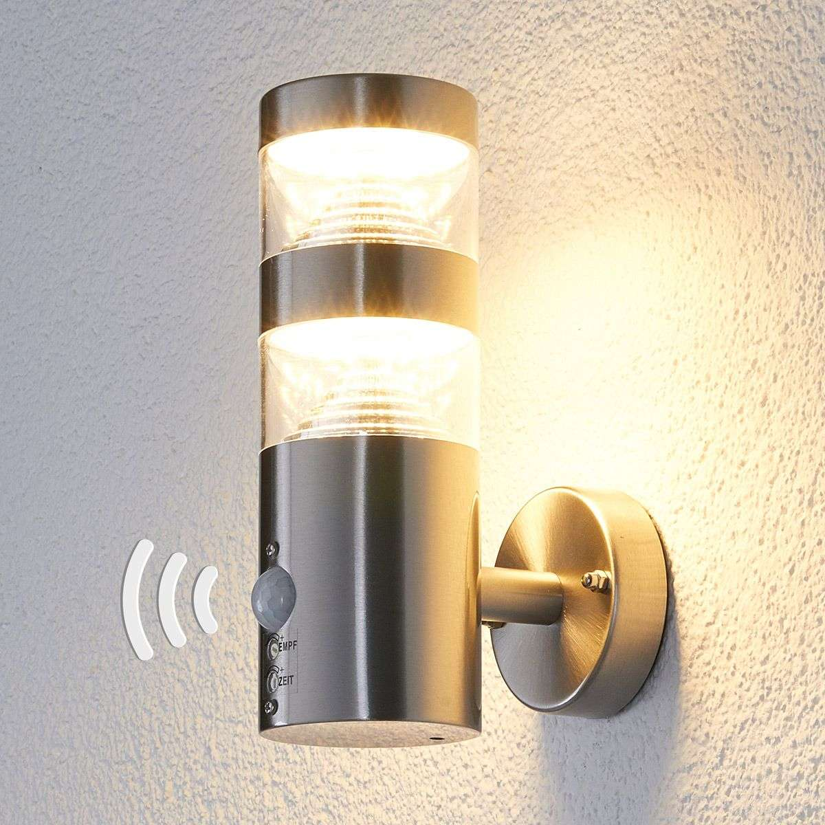led outdoor wall light lanea with motion sensor. Black Bedroom Furniture Sets. Home Design Ideas