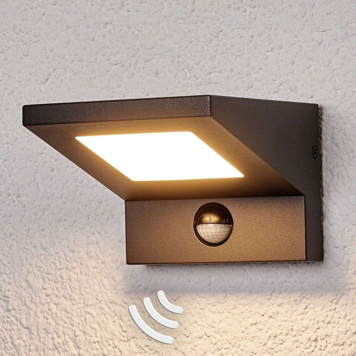 Led outdoor wall light levvon with motion detector for Exterior wall light with motion sensor