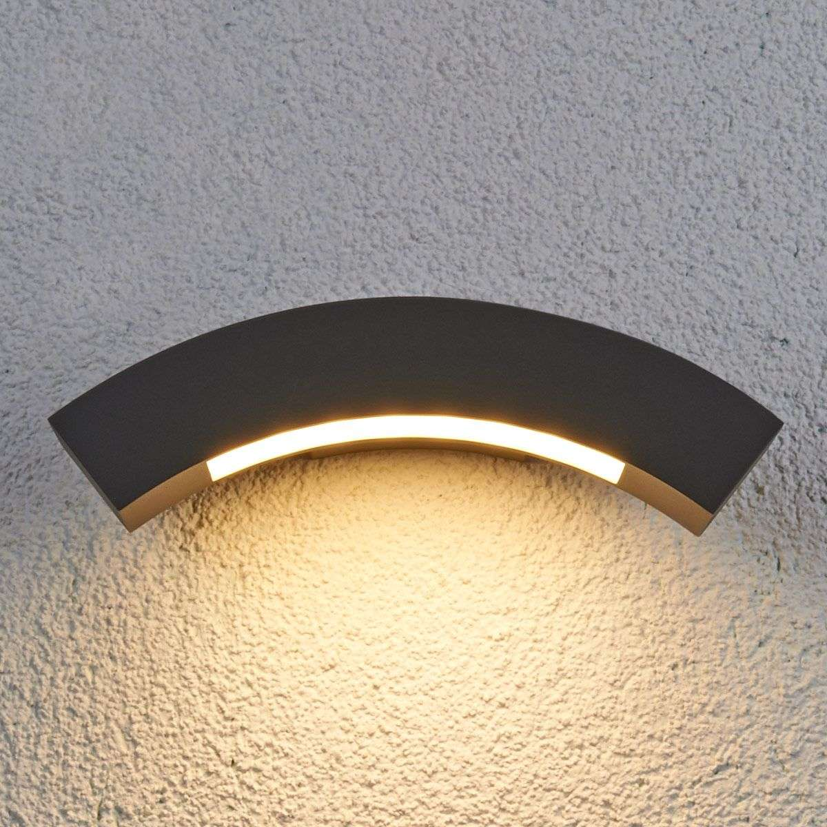 Lennik Curved LED Exterior Wall Lamp | Lights.co.uk