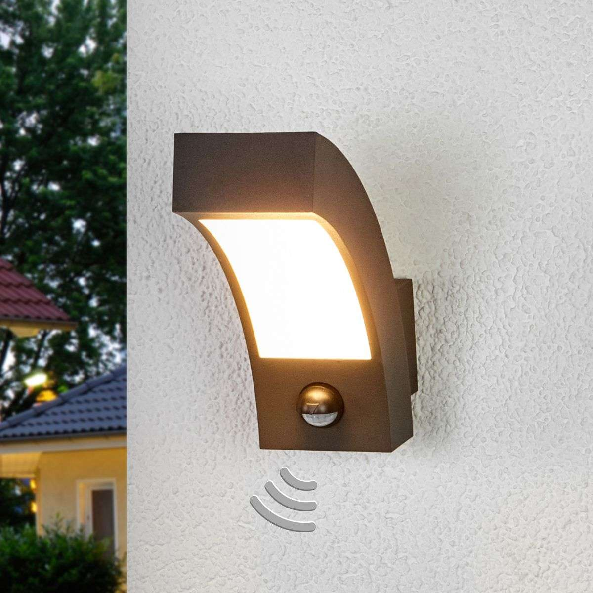 Lennik LED Exterior Wall Lamp with Motion Detector | Lights.co.uk