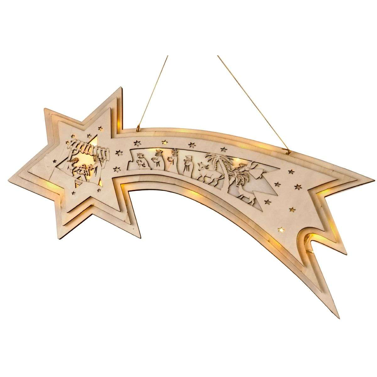 Made of wood LED window decoration Comet Star-1522593-31