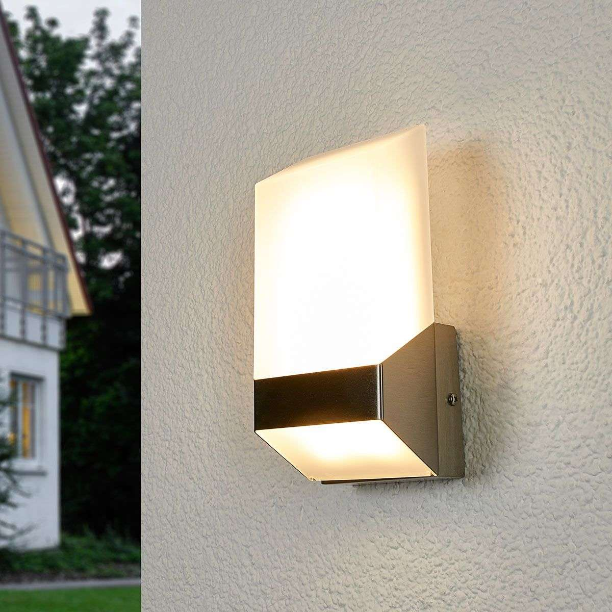 modern flat led outdoor wall light stainless steel lights co uk