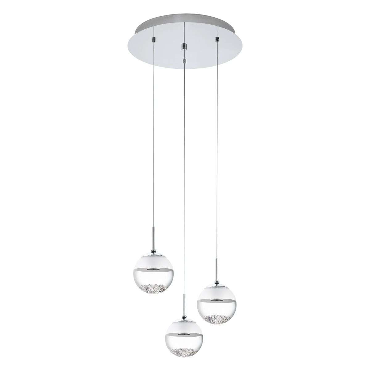 Montefio 3 Lamp Round LED Pendant With Crystal