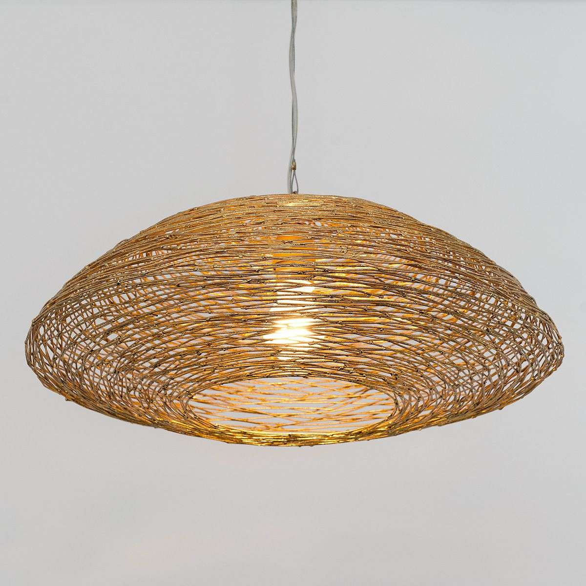 Pendant Light Piseo With A Woven Metal Lampshade Lights