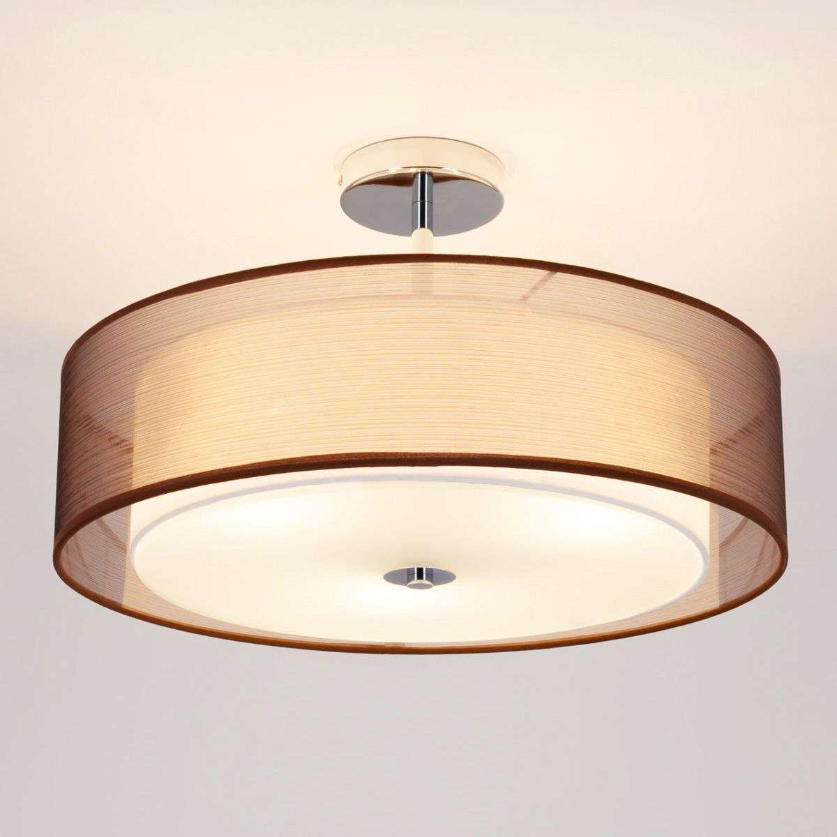 Pikka LED ceiling light with a brown lampshade | Lights.co.uk