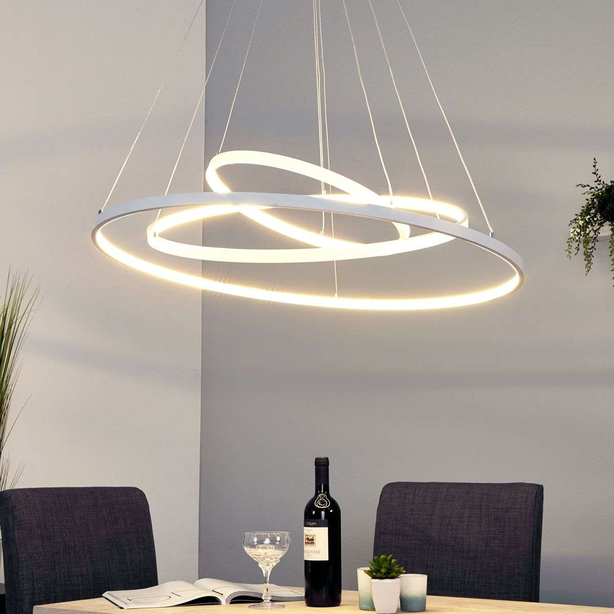 Powerful led pendant lamp eline with 3 rings for Lampade design