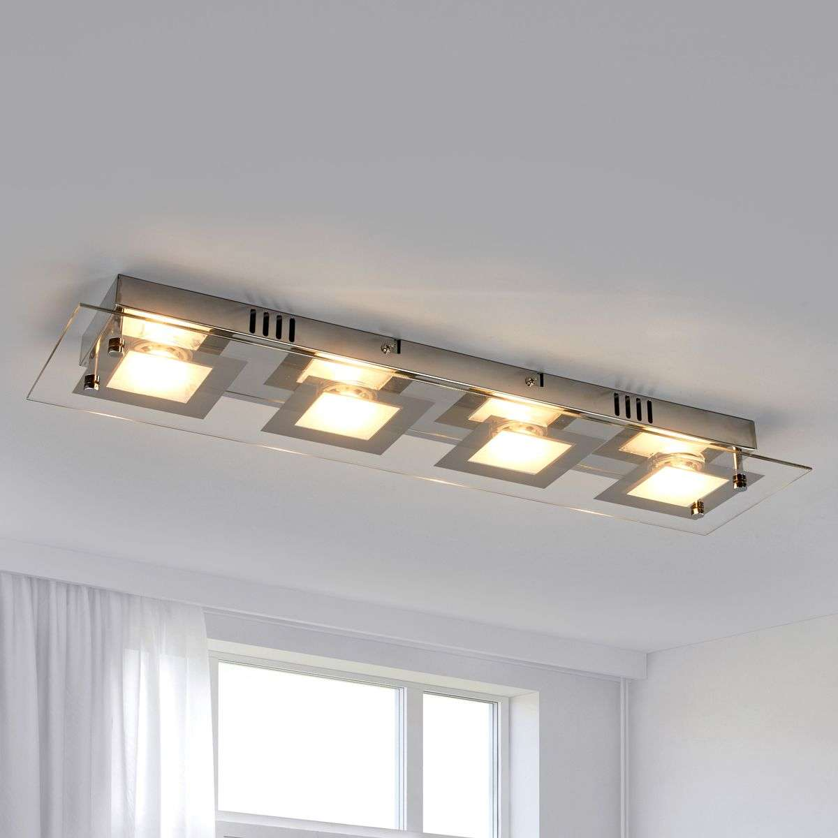 Rectangular led ceiling light manja with chrome lights rectangular led ceiling light manja with chrome mozeypictures Image collections