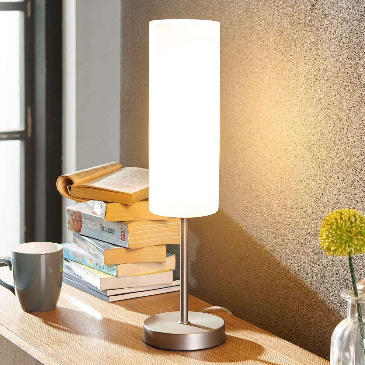 Slim Table Lamp Vinsta With White Glass Lampshade