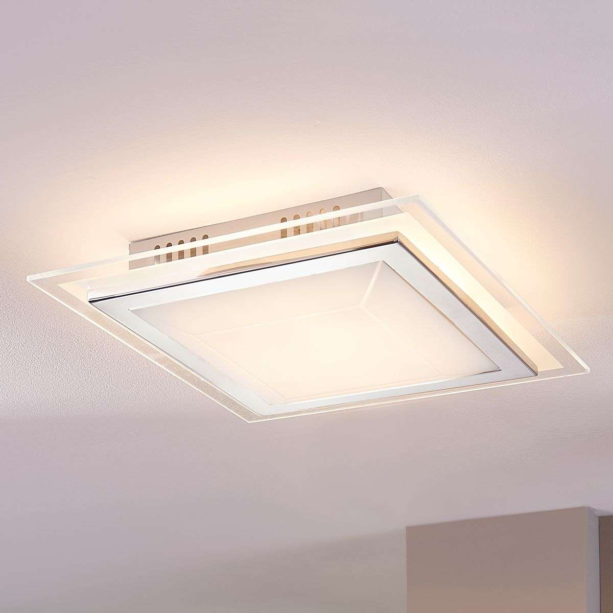 Square Glass Ceiling Light Alessio With LED