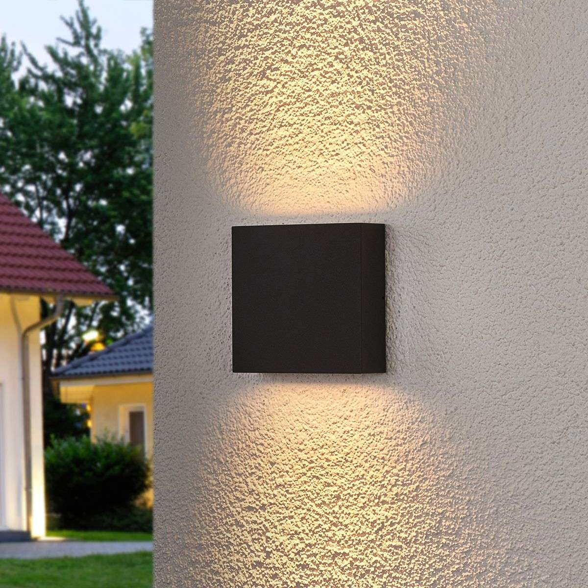 Square LED outdoor wall light Trixy, graphite grey ...