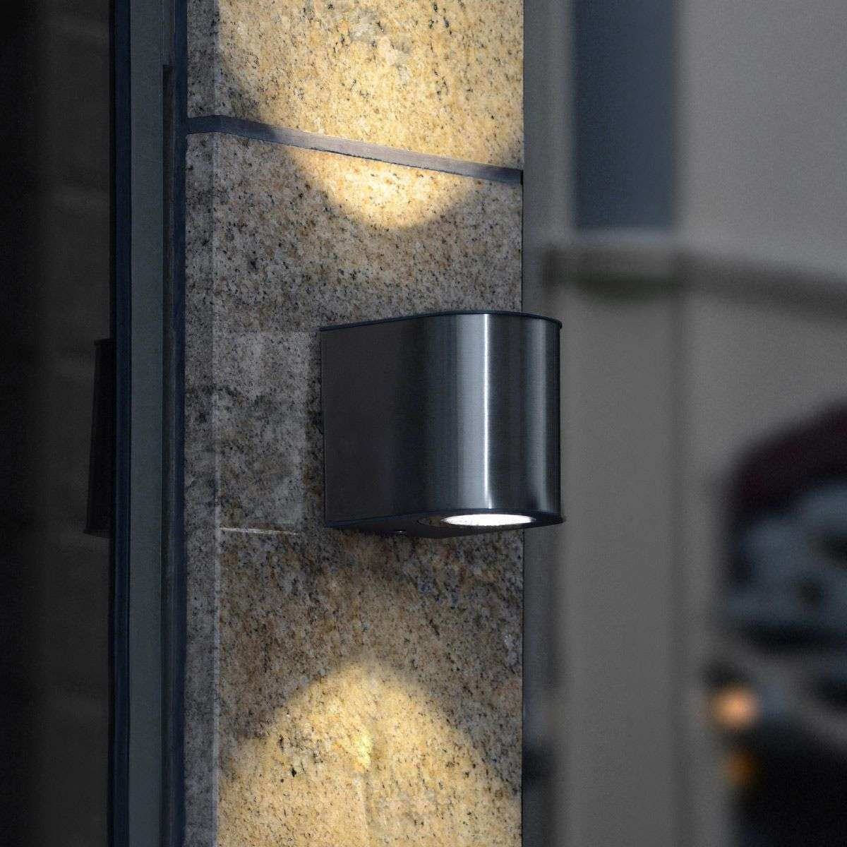 Stylish Gemini IP54 LED exterior wall light Lights.co.uk