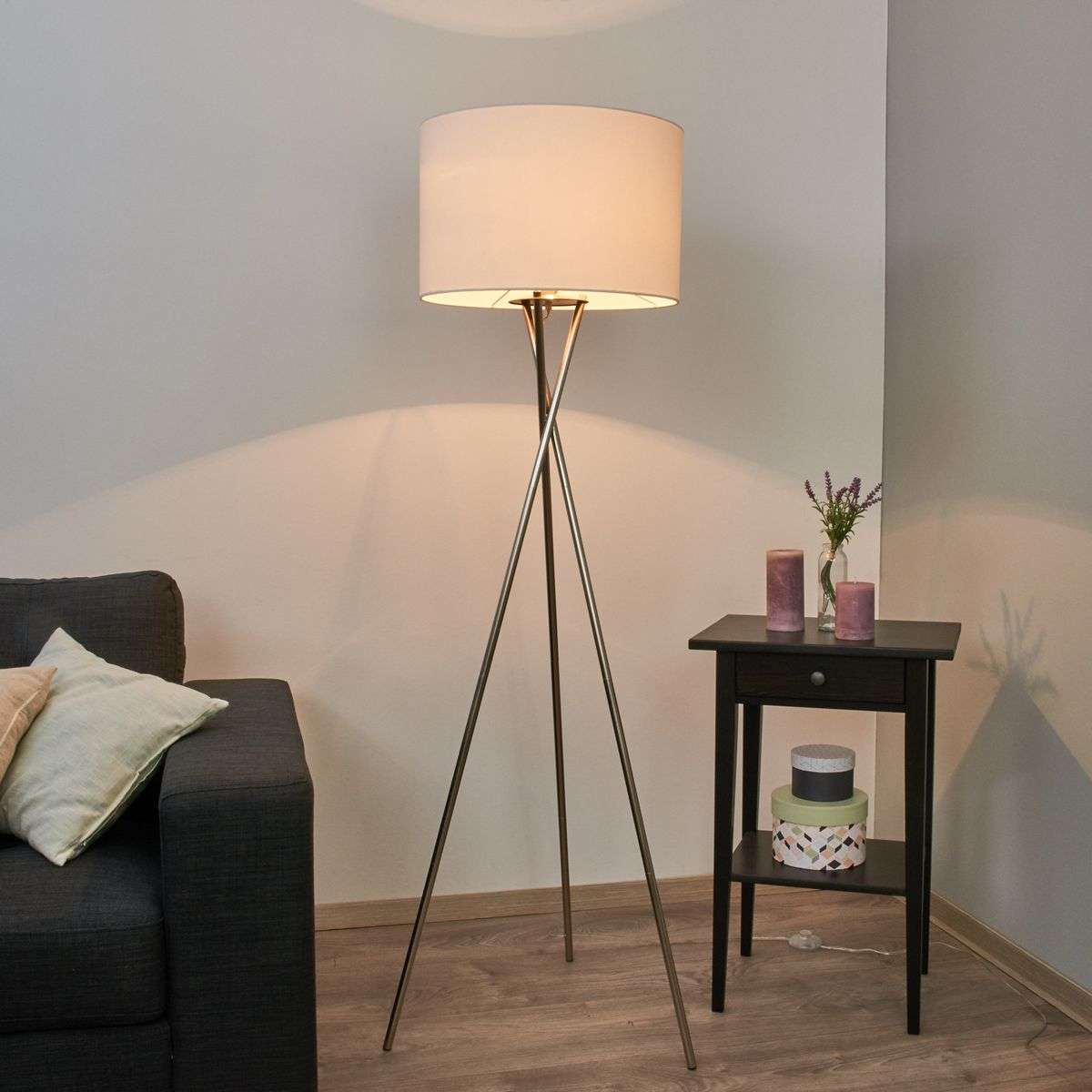 Tripod floor lamp fiby white fabric lampshade lightscouk for Wilko tripod floor lamp white