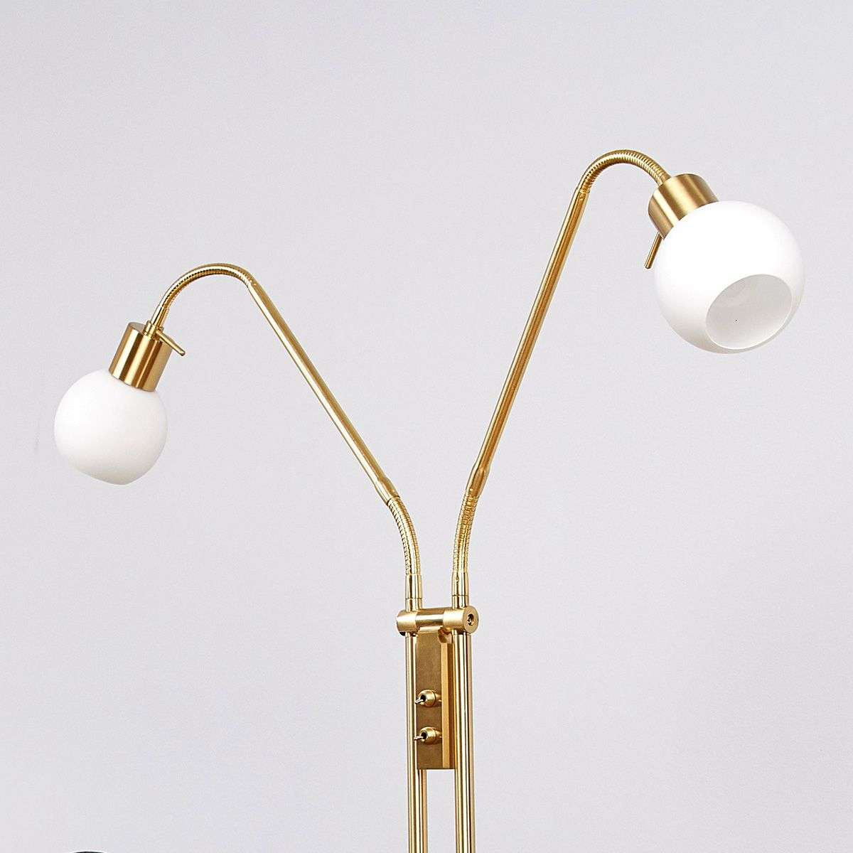 Two bulb led floor lamp elaina brass lights two bulb led floor lamp elaina brass aloadofball Image collections