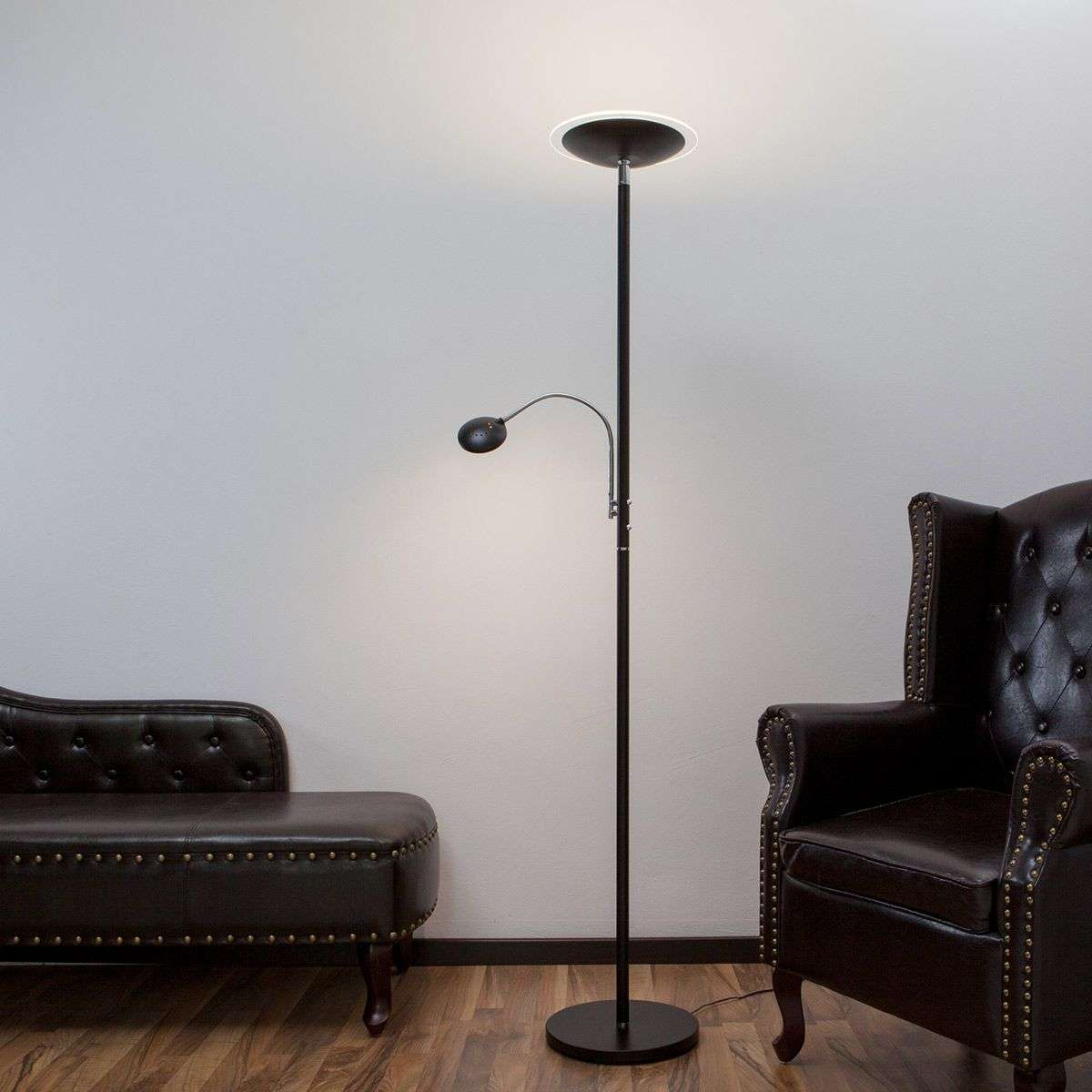 Uplight Malea with LED   reading arm, black | Lights.co.uk for Indoor Street Light Lamp  585eri