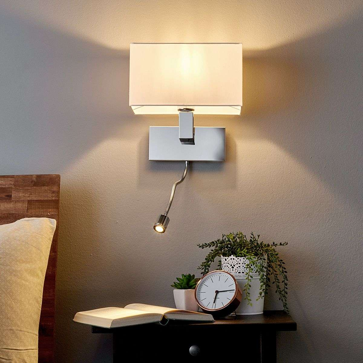 Wall Light Tamara With Fabric Shade, LED Flex Arm