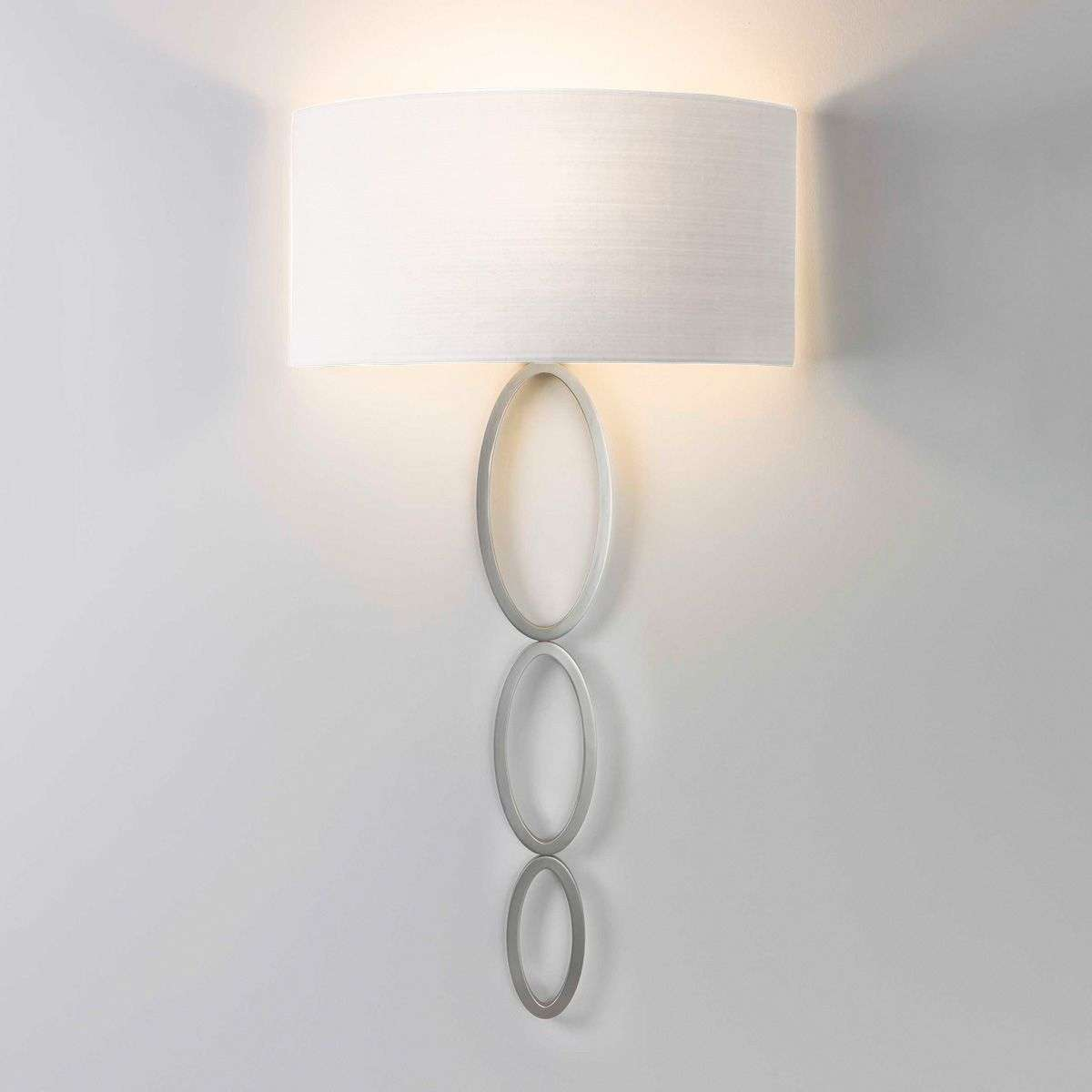 Wall light Valbonne with a white lampshade, nickel-1020513-31