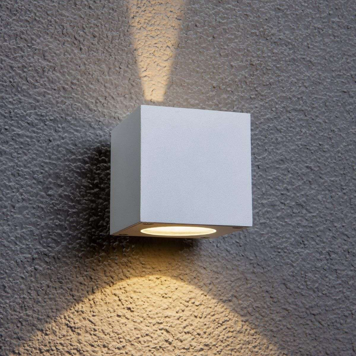 Led Wall Light White: White LED Outdoor Wall Light Jarno, Cube Form