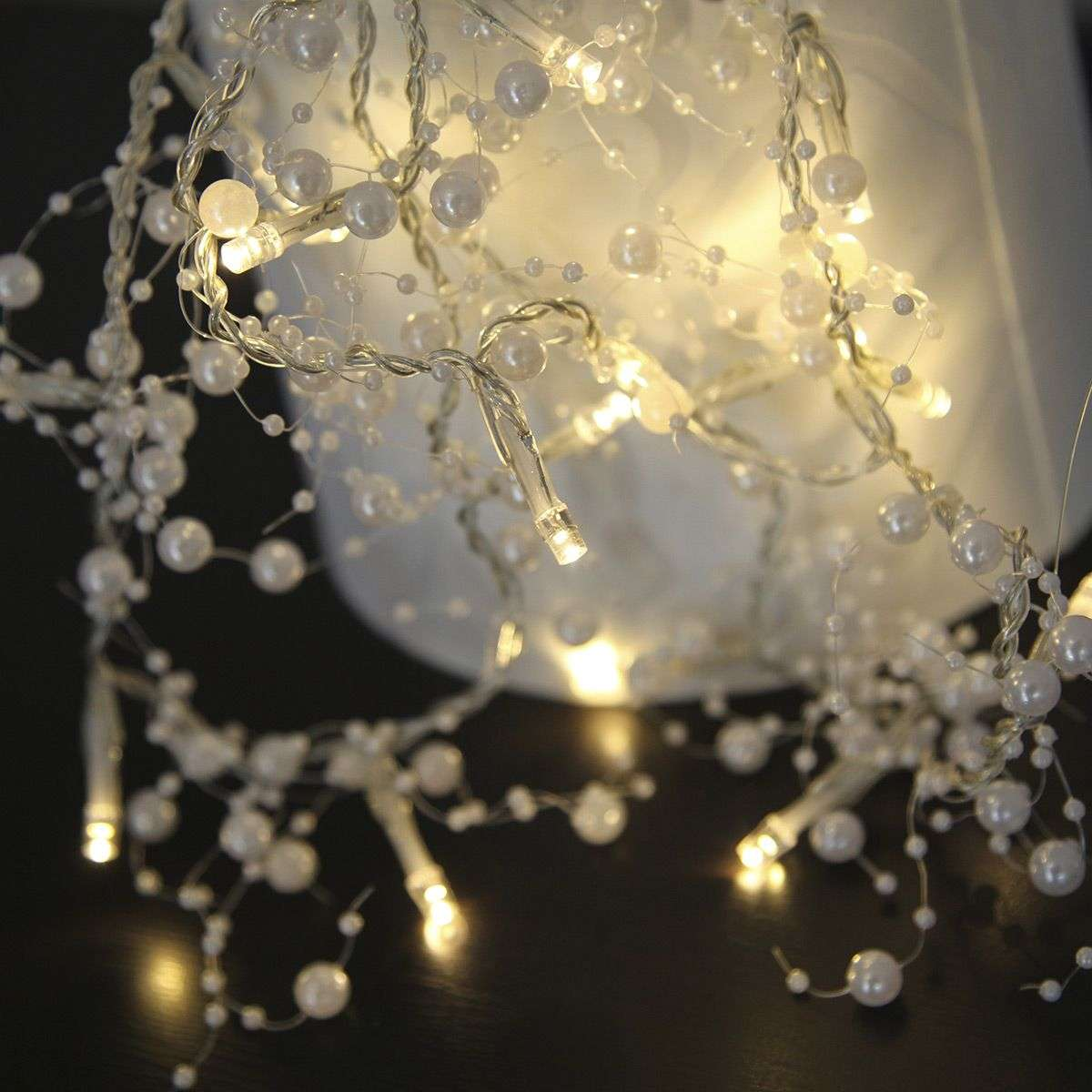White LED string lights Parla Garland Lights.co.uk