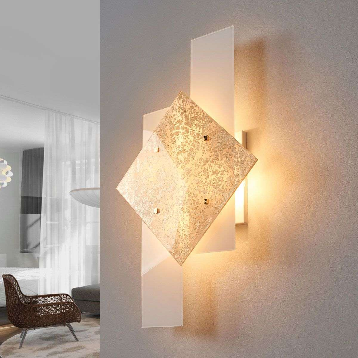 With Gold Leaf D 233 Cor Wall Light Bandiera 63 Cm Lights