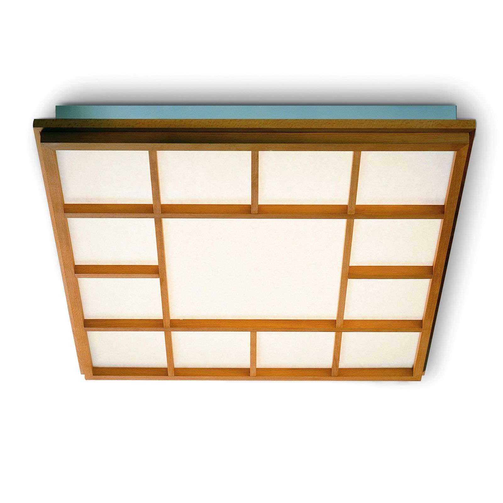 Square LED ceiling light Kyoto 13, beech