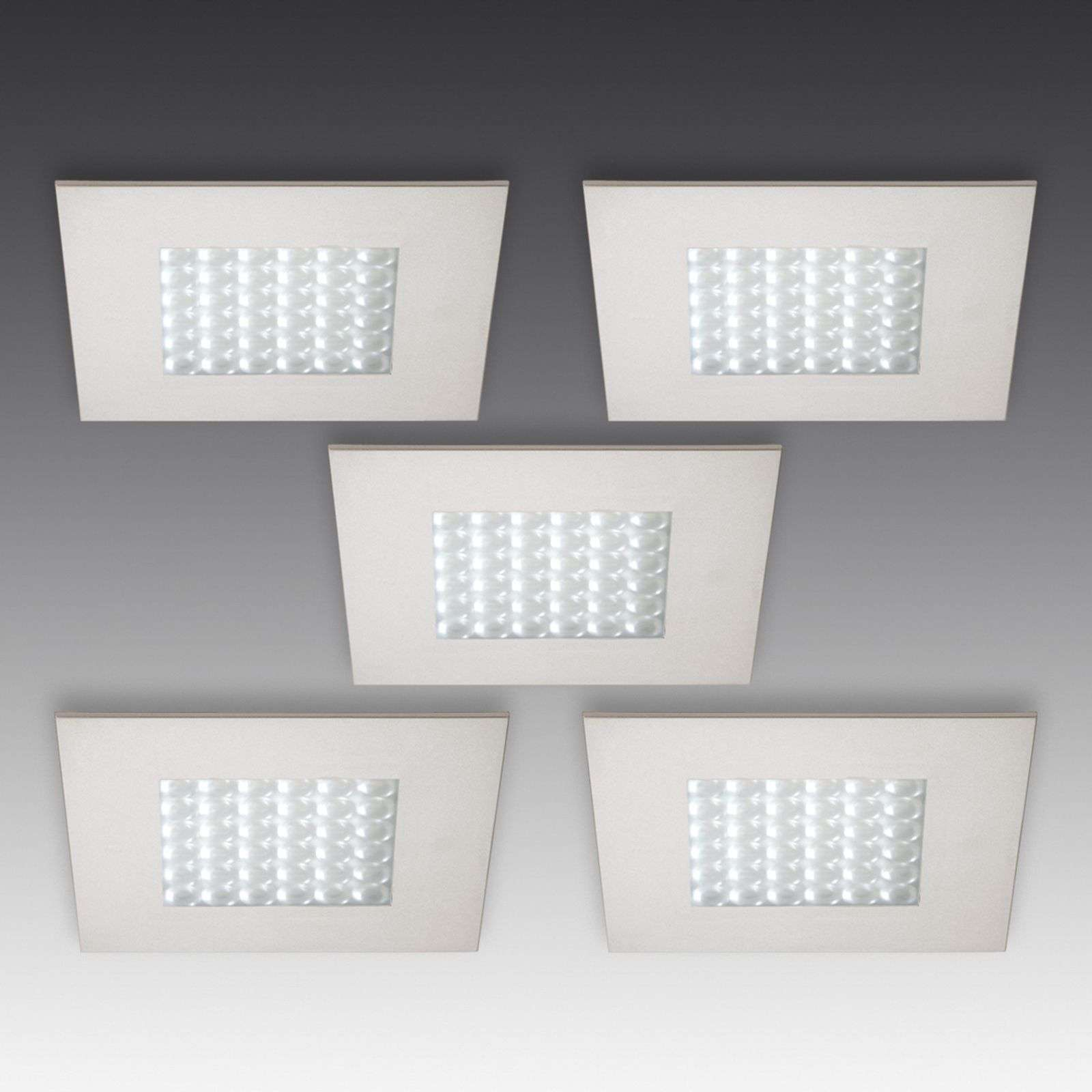 Q 68 LED recessed light, stainless steel, set of 5