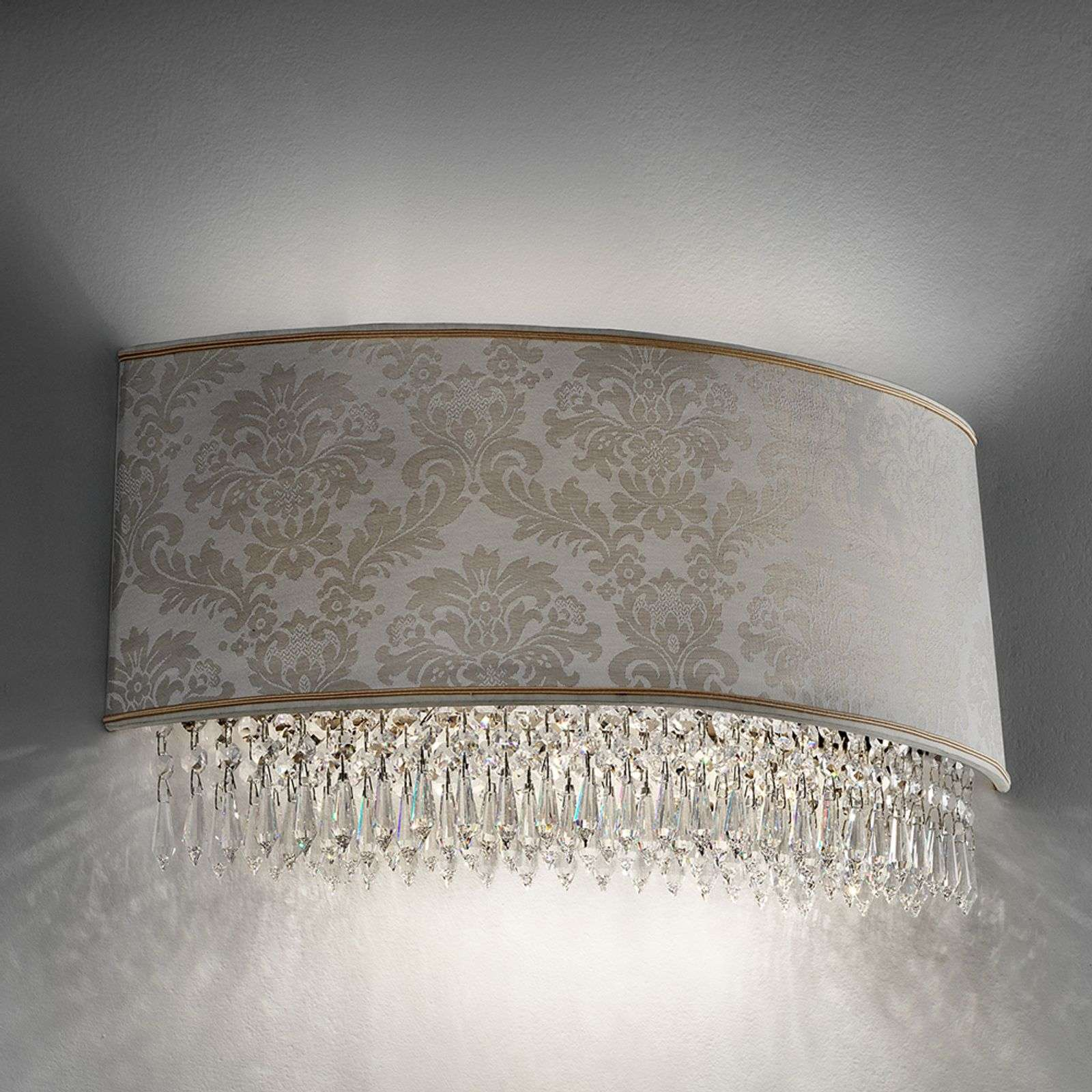 50 cm wide wall lamp Glass with damask lampshade