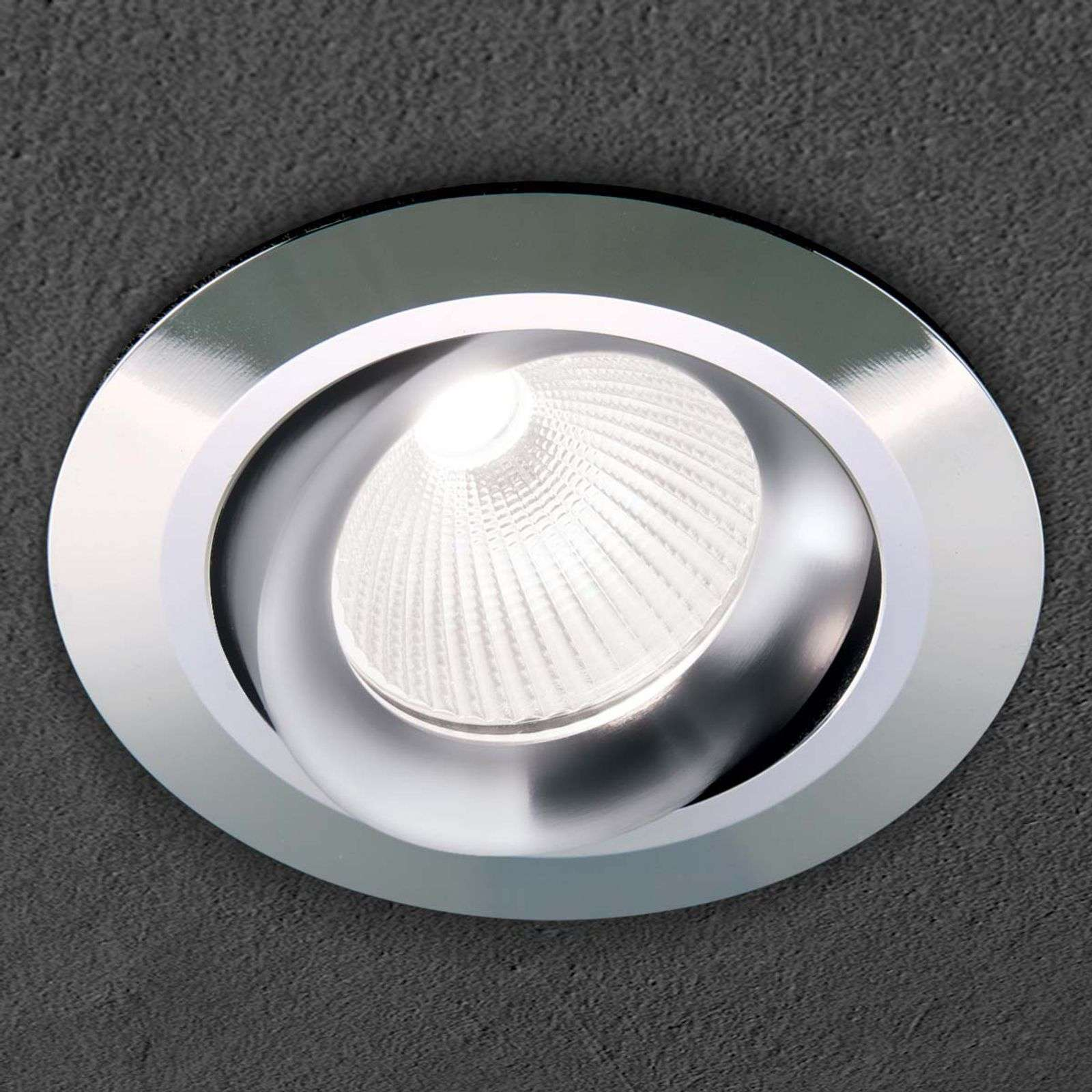Glossy chrome LED recessed light Mariam, round