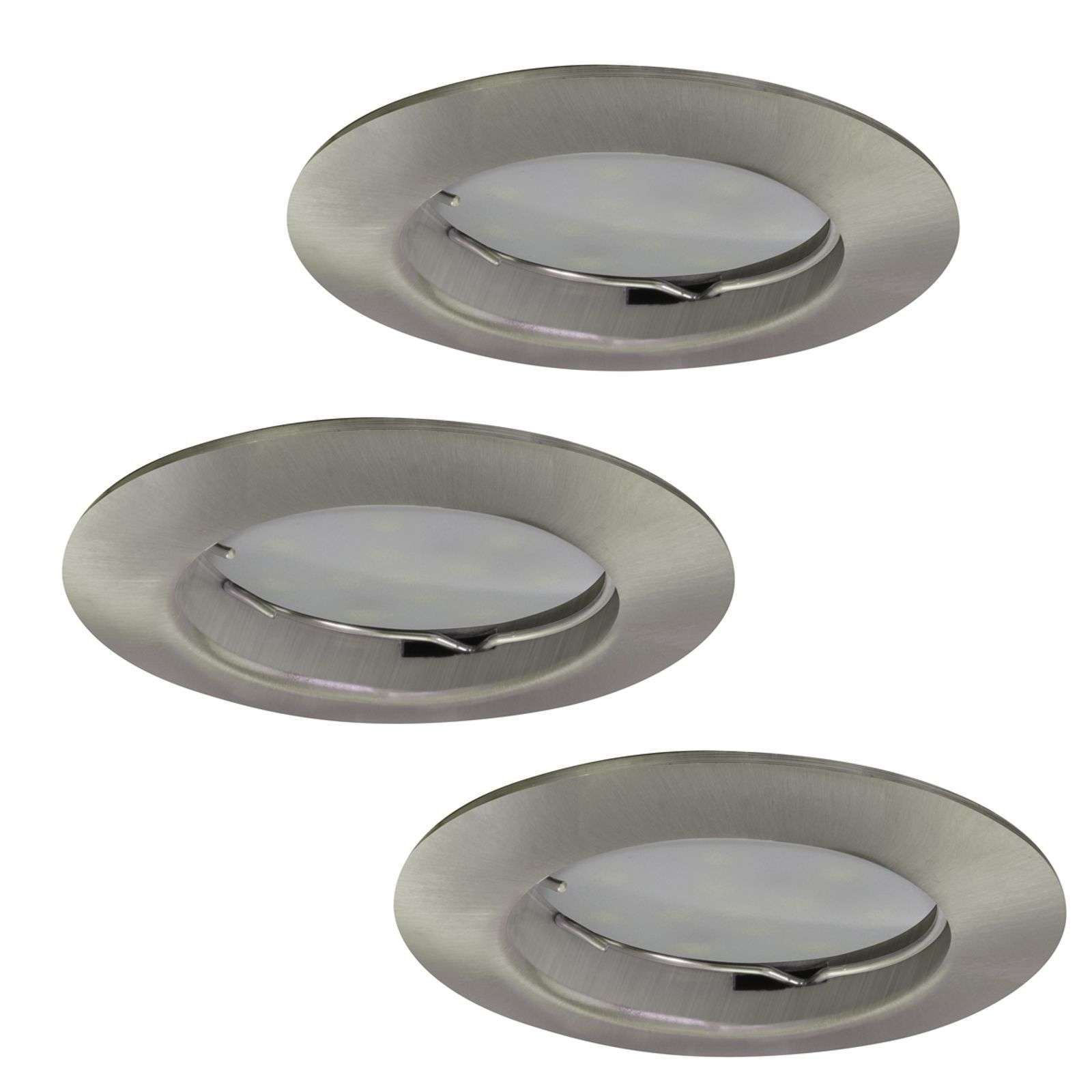 3 Downlight DIM Flat LED recessed spots nickel