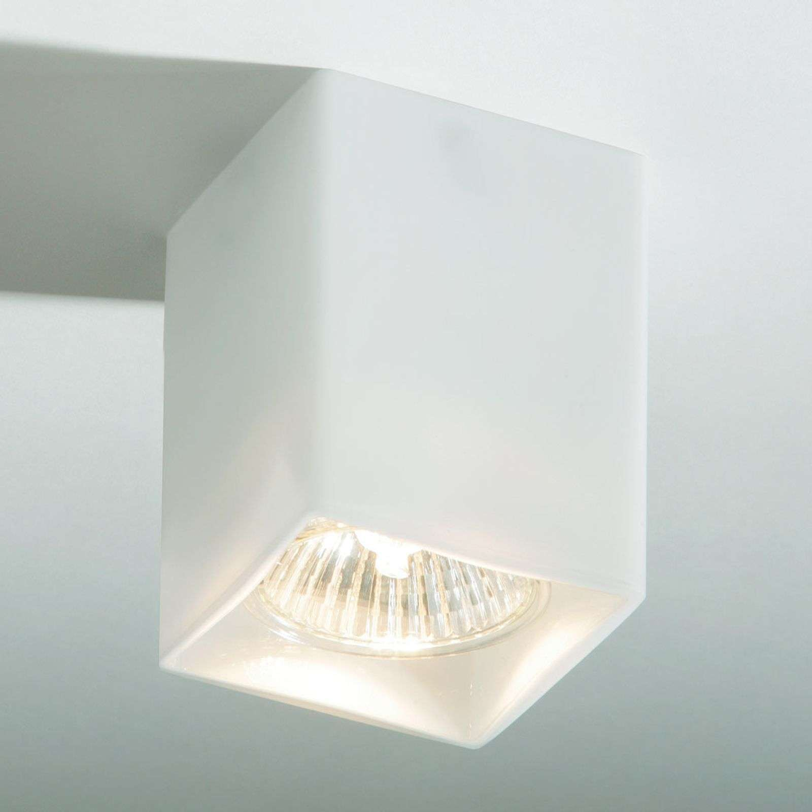 Wall lamps|Ceiling lights Square ceiling light QUADRO made of white glass