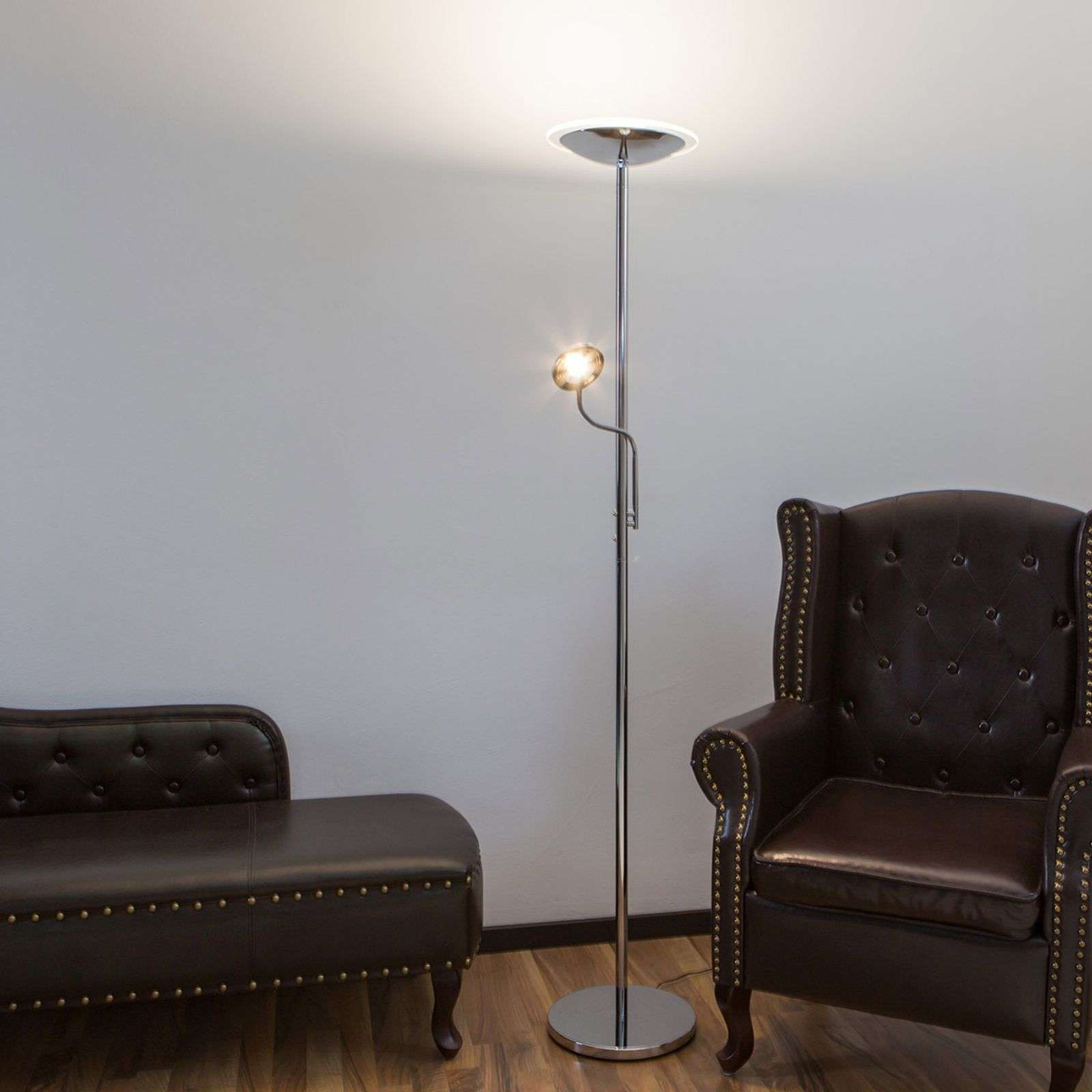 Chrome uplighter Malea with LEDs and reading light