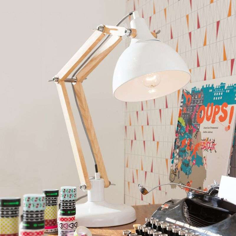 White desk lamp Work Station with wood