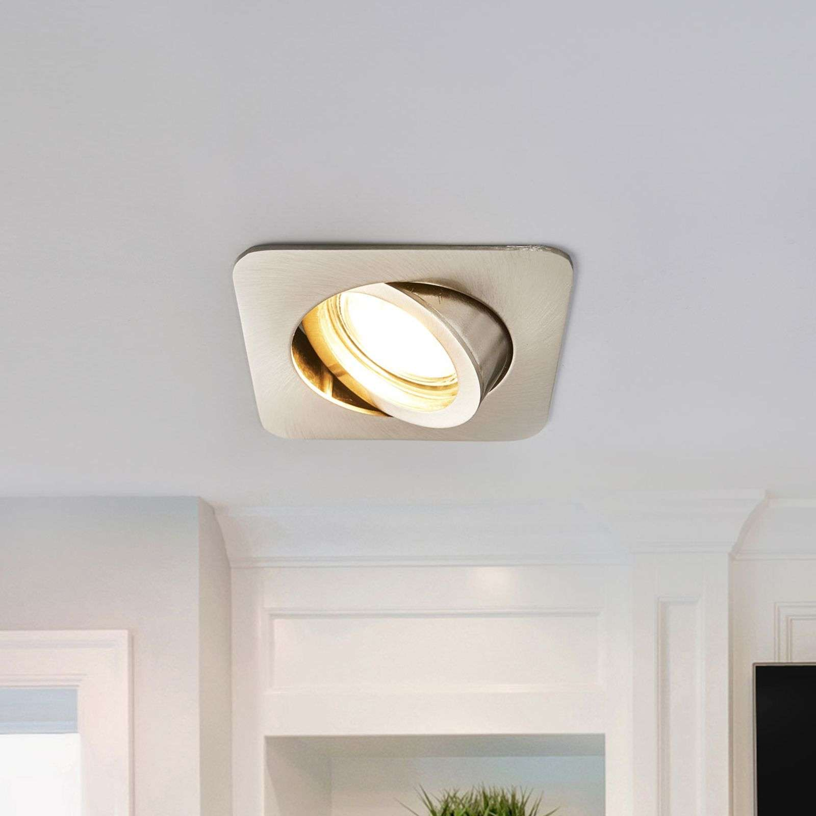 Charna - square recessed LED light in nickel